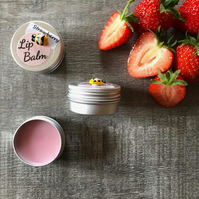 Strawberry Lip Balm. Natural Beeswax. 15ml