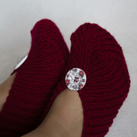 Knitted Slippers Irena, Burgundy Colour, with Buttons, Unisex