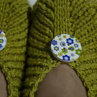 Knitted Slippers Irena, Lime Green Colour, with Buttons, Unisex