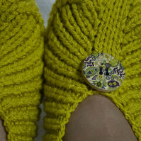 Knitted Slippers Irena, Mustard Yellow Colour, with Buttons, Unisex