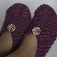 Knitted Slippers Irena, Grape (Purple) Colour, with Buttons, Unisex