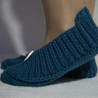 Knitted Slippers Irena, Petrol Blue Colour, with Buttons, Unisex