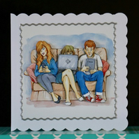 Techie Teens Decoupaged Greeting Card