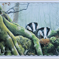 BADGERS IN THE WOOD Greeting Card