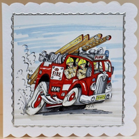 FIRE ENGINE 3D Decoupaged Greeting Card