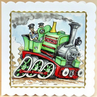 THE LOCOMOTIVE - SIR BARKLY 3D Decoupaged Greeting Card