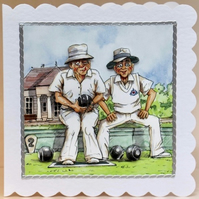 BOWLING BUDDIES 3D Decoupaged Greeting Card