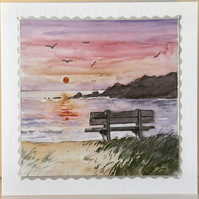 SEA VIEW SUNSET 3D Decoupaged Greeting Card