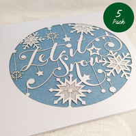 Let It Snow Christmas 5 Card Set - Pack Discount Buy 4 Cards get 1 FREE