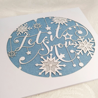 Let It Snow Christmas Card (1 card) Winter Snowflake Design
