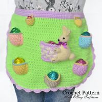 Egg apron crochet pattern. Easter egg hunt.