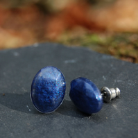 Dark blue oval resin stud earrings