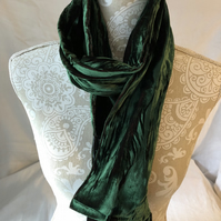 Iridescent Velvet Scarf in Emerald by Lady Crow