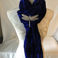 Large Iridescent Amethyst Velvet Scarf with a Dragonfly Pewter Brooch