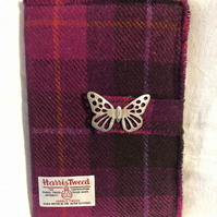 Harris Tweed A5 Journal with Lady Crow Butterfly Brooch