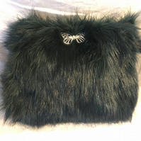 Emerald Green Faux Fur Handbag with Pewter Butterfly Brooch