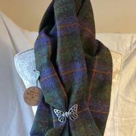 Bespoke Shetland Tweed Scarf in purples, greens & red. Pewter Butterfly Brooch
