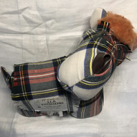 Tartan Mr Scottie Dog Doorstop, Sheepskin, Buckle, Glasses, Coat & Collar