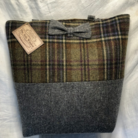 Beautiful Check and Grey Scottish Tweed Shopper Style Bag. Leather Straps & Bow