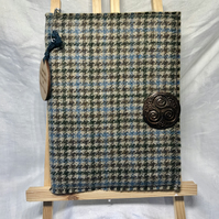 Harris Tweed A5 Notebook Journal with Brown Celtic Brooch. In Blues and Browns