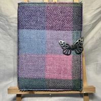 Harris Tweed A5 Notebook Journal with Pewter Butterfly Brooch. Pinks & Purples