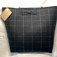 Beautiful Blue Check Scottish Tweed Shopper Style Bag. Leather Straps and Bow