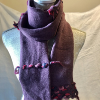 Fine Hand Knitted Long Scarf, Pure Wool, Pale Lilac, Purple, Weave, Handmade
