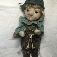 Pip the Pixie Elf, Needle Felted, Wool, Sculpted, Trousers, Shirt, Hat & Shoes
