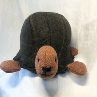 Scottish Tweed Tortoise, Turtle Doorstop, Display, Handmade, Shell, Weighted