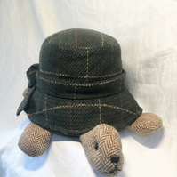 Harris Tweed & Scottish Tweed Tortoise Turtle Doorstop Display, Handmade, Shell