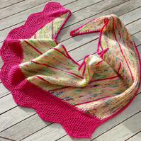 Knitted asymmetric shawl in hand dyed merino wool