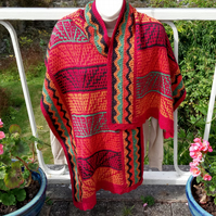 Silk and cotton knitted shawl with crochet borders
