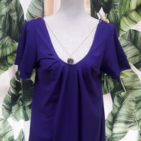 Womens Chakra Top in Purple with Reiki Healing Crystal