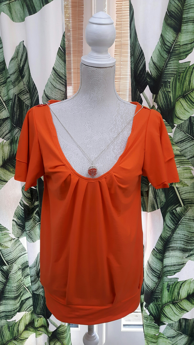 Womens Chakra Top in Orange with Reiki Healing Crystal