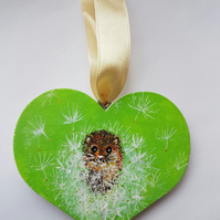 Mouse in dandelion wooden heart