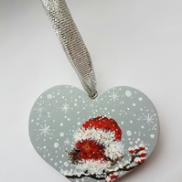 Christmas robin heart