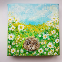 Hedgehog and flowers canvas