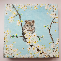 Mouse on flowery branch chunky canvas