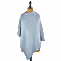 Cashmere, silk and merino lambswool 5-in-1 poncho