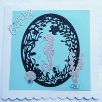 Seaside Beach Seahores Birthday Card cards with fluorite embellishments for her