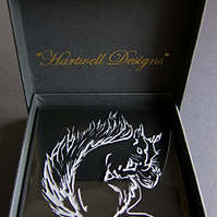 Artistic Squirrel Engraved On Black Glass Coaster