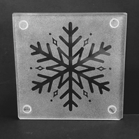 Etched Frosty Traditional Snowflake on Glass Coaster