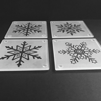 Set of 4 Etched Glass Coasters with individual Frosty Snowflake Designs