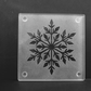 Etched Frosty Design Snowflake Flower on Glass Coaster