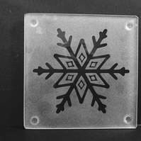 Etched Frosty Snowflake with small diamond design on Glass Coaster