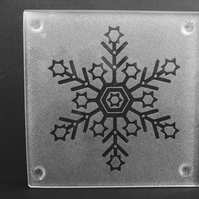Etched Frosty Snowflake with circles on Glass Coaster