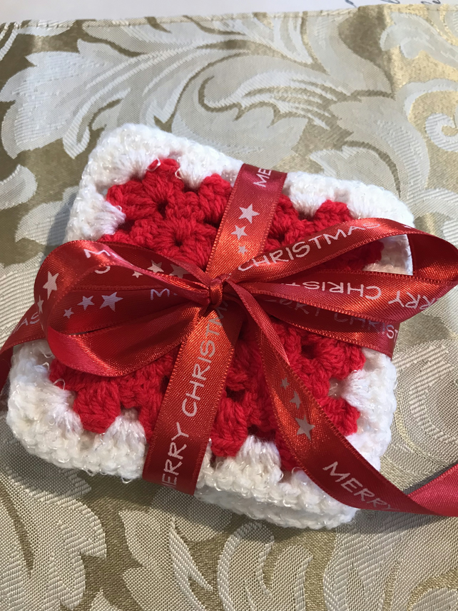 Crochet Christmas Coasters Folksy