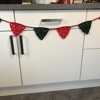 Red and  Green Crocheted Bunting