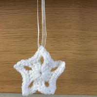 White Crochet Star Hanging Decoration