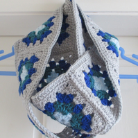 Infinity Blue and Grey Crocheted Scarf